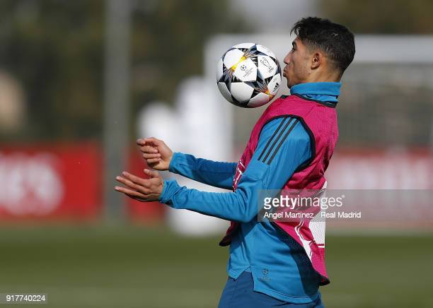 Achraf Hakimi of Real Madrid in action during a training session at Valdebebas training ground on February 13 2018 in Madrid Spain