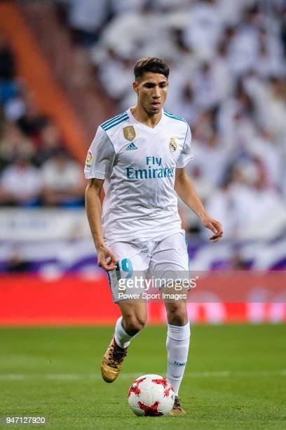 Achraf Hakimi of Real Madrid in action during La Copa del Rey 201718 match between Real Madrid vs CD Leganes at Estadio Santiago Bernabeu on 24...