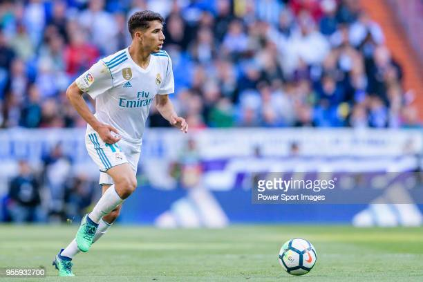 Achraf Hakimi of Real Madrid in action during the La Liga 201718 match between Real Madrid and CD Leganes at Estadio Santiago Bernabeu on April 28...