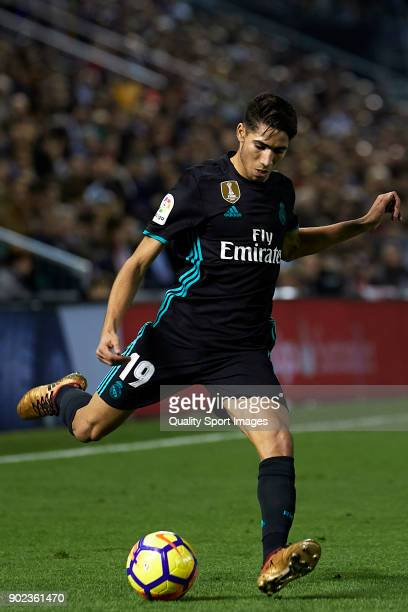 Achraf Hakimi of Real Madrid in action during the La Liga match between Celta de Vigo and Real Madrid at Estadio de Balaidos on January 7 2018 in...