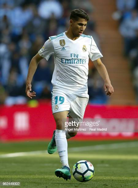 Achraf Hakimi of Real Madrid in action during the La Liga match between Real Madrid and Leganes at Estadio Santiago Bernabeu on April 28 2018 in...