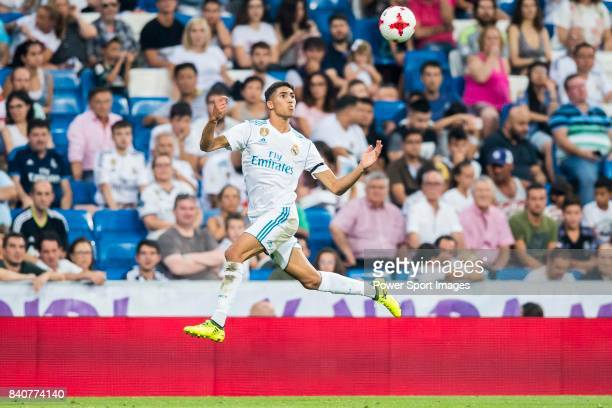 Achraf Hakimi of Real Madrid in action during the Santiago Bernabeu Trophy 2017 match between Real Madrid and ACF Fiorentina at the Santiago Bernabeu...