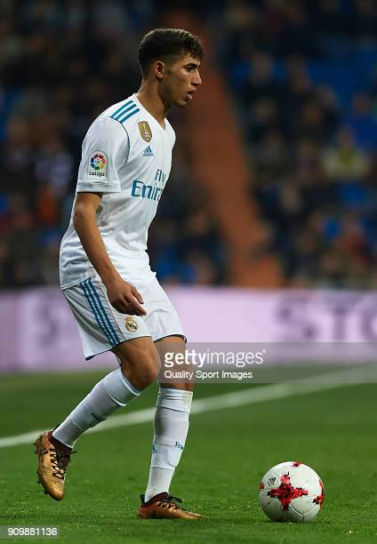 Achraf Hakimi of Real Madrid in action during the Spanish Copa del Rey Quarter Final Second Leg match between Real Madrid and Leganes at Bernabeu on...