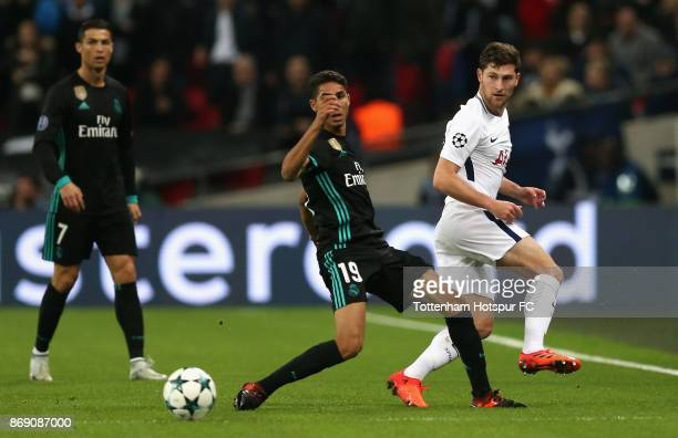 Achraf Hakimi of Real Madrid in action during the UEFA Champions League group H match between Tottenham Hotspur and Real Madrid at Wembley Stadium on...