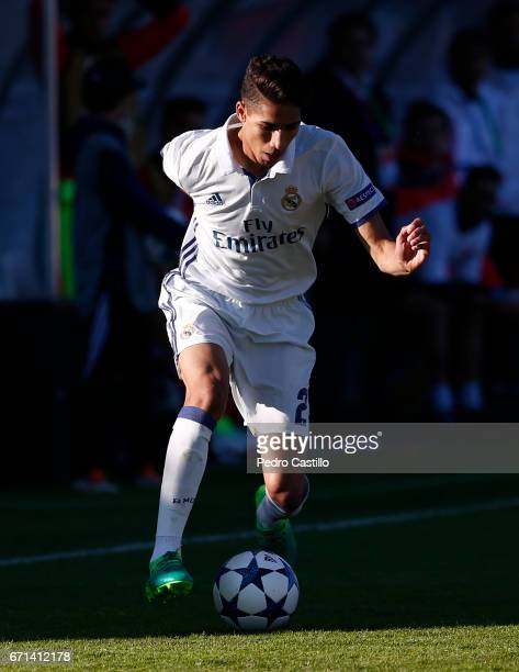 Achraf Hakimi of Real Madrid in action during the UEFA Youth League Final Four match between Real Madrid CF and Benfica at Colovray Stadium on April...