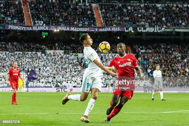 Achraf Hakimi of Real Madrid Lionel Jules Carole of Sevilla FC during the La Liga Santander match between Real Madrid CF and Sevilla FC on December...