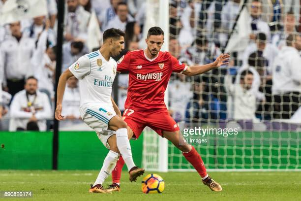Achraf Hakimi of Real Madrid Pablo Sarabia Garcia of Sevilla FC during the La Liga Santander match between Real Madrid CF and Sevilla FC on December...