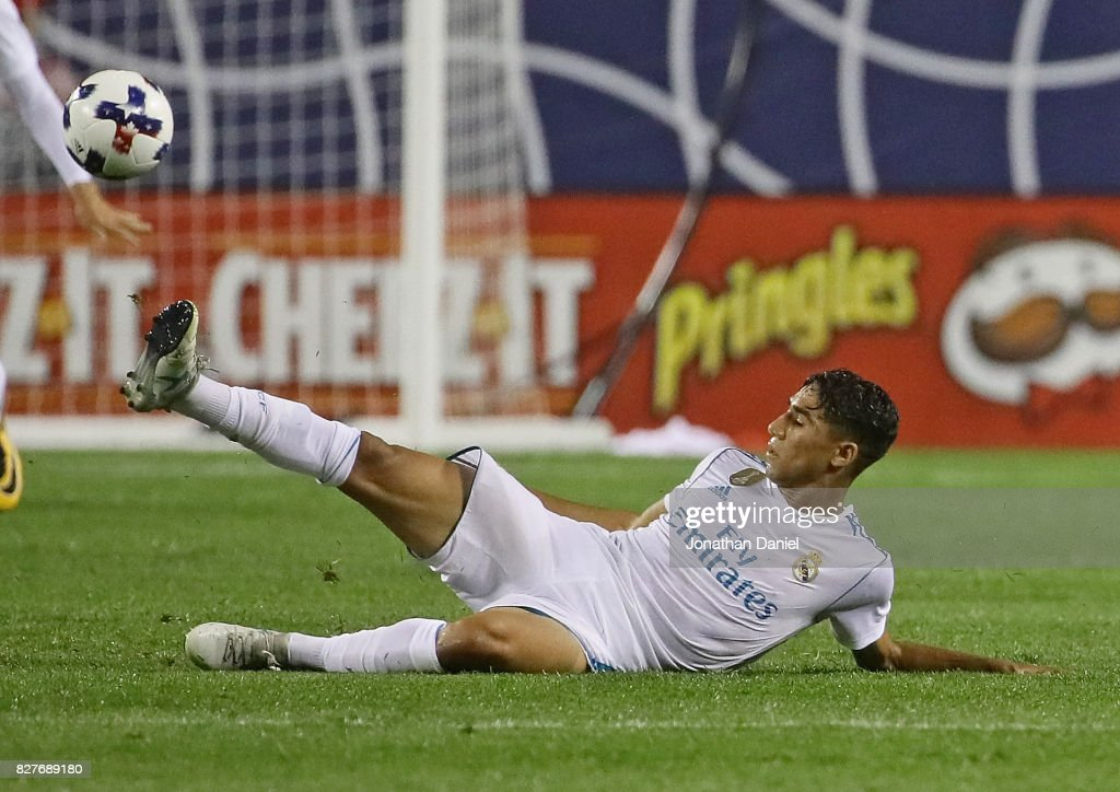 Achraf Hakimi #34 of Real Madrid passes the ball from the ground against the MLS All-Stars during the 2017 MLS All- Star Game at Soldier Field on August 2, 2017 in Chicago, Illinois.