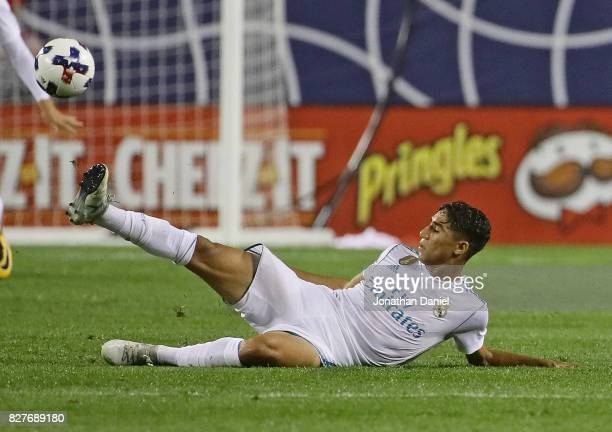 Achraf Hakimi of Real Madrid passes the ball from the ground against the MLS AllStars during the 2017 MLS All Star Game at Soldier Field on August 2...