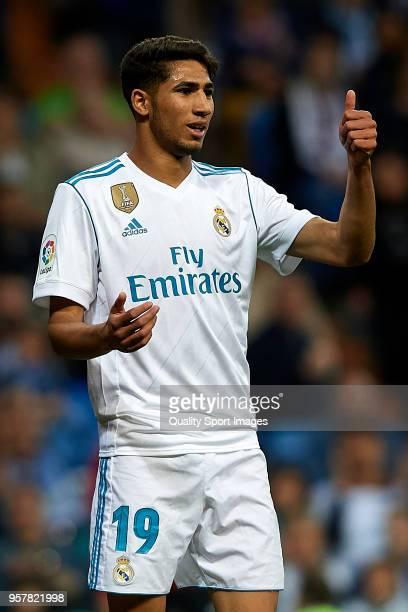 Achraf Hakimi of Real Madrid reacts during the La Liga match between Real Madrid and Celta de Vigo at Estadio Santiago Bernabeu on May 12 2018 in...