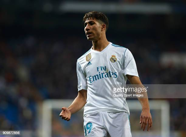 Achraf Hakimi of Real Madrid reacts during the Spanish Copa del Rey Quarter Final Second Leg match between Real Madrid and Leganes at Bernabeu on...