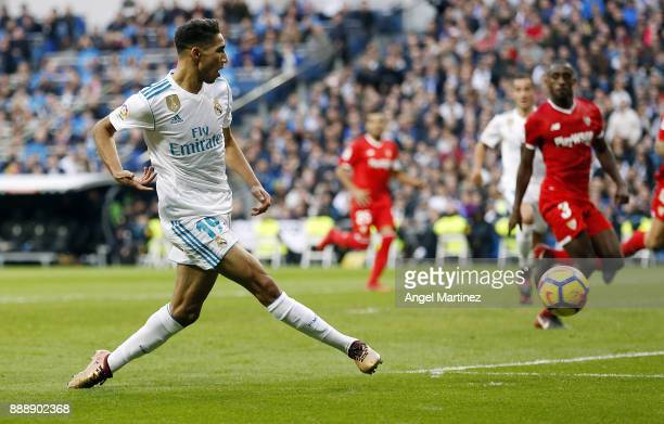 Achraf Hakimi of Real Madrid scores his team's fifth goal during the La Liga match between Real Madrid and Sevilla at Estadio Santiago Bernabeu on...
