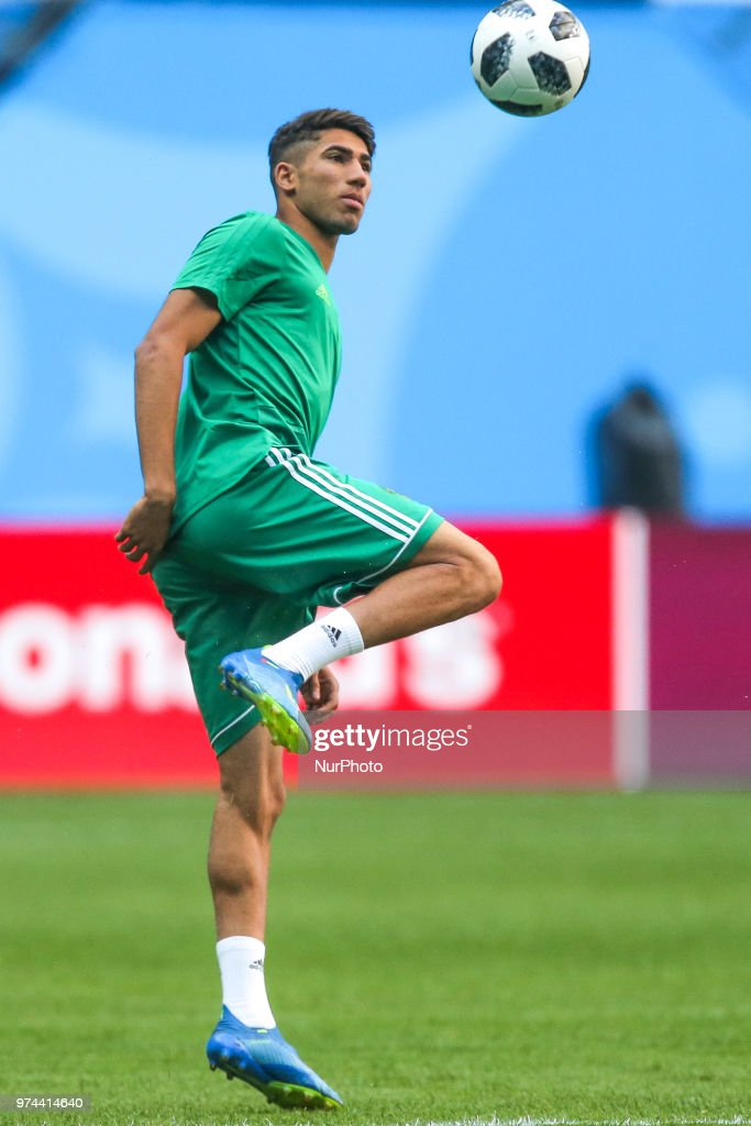 Achraf Hakimi of the Morocco national football team takes part in a training session at Saint Petersburg Stadium in Saint Petersburg on June 14, 2018, ahead of a the 2018 FIFA World Cup match, between Morocco and Iran.