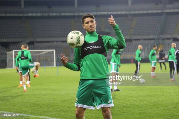 Achraf Hakimi player of Real Madrid and Marocco national team during training ahied the international friendly football match between Marocco and...