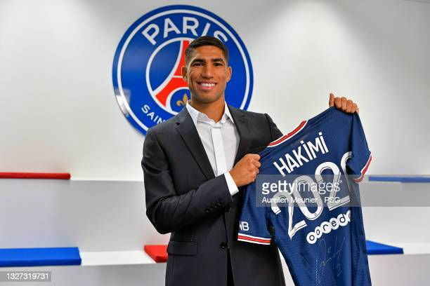 Achraf Hakimi signs a 5 year contract with the Paris Saint-Germain at on July 06, 2021 in Paris, France.