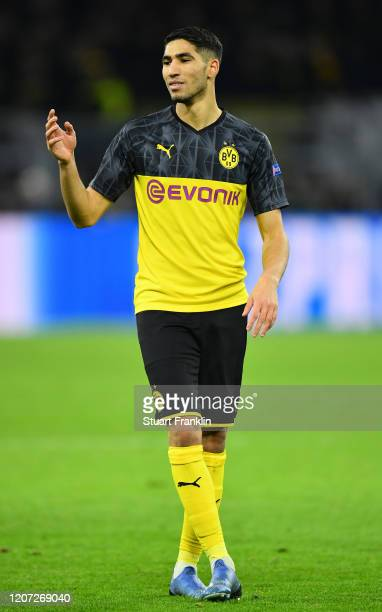 Achraf Hakimiof Dortmund in action during the UEFA Champions League round of 16 first leg match between Borussia Dortmund and Paris Saint-Germain at...