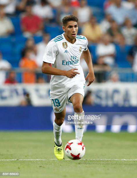 Achraf Haquimi of Real Madrid in actions during the match Trofeo Santiago Bernabeu between Real Madrid CF and Fiorentina at Santiago Bernabeu Stadium...