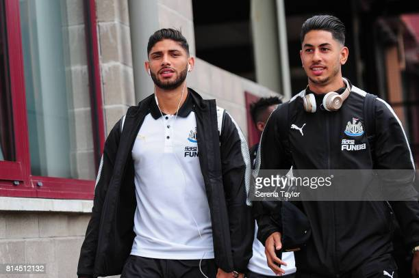 Achraf Lazaar and Ayoze Perez of Newcastle arrives for the PreSeason Friendly between Heart of Midlothian and Newcastle United at the Tynecastle...