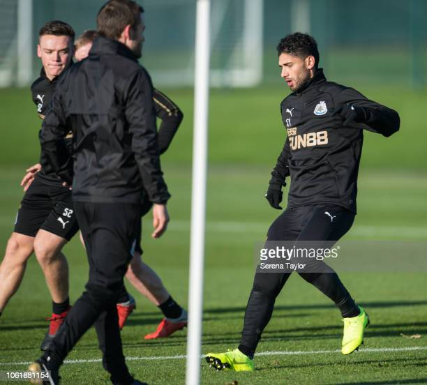 Achraf Lazaar during the Newcastle United Training Session at The Newcastle United Training Centre on November 15 in Newcastle upon Tyne England