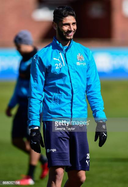 Achraf Lazaar during the Newcastle United Training Session at The Newcastle United Training Centre on April 13 2017 in Newcastle upon Tyne England