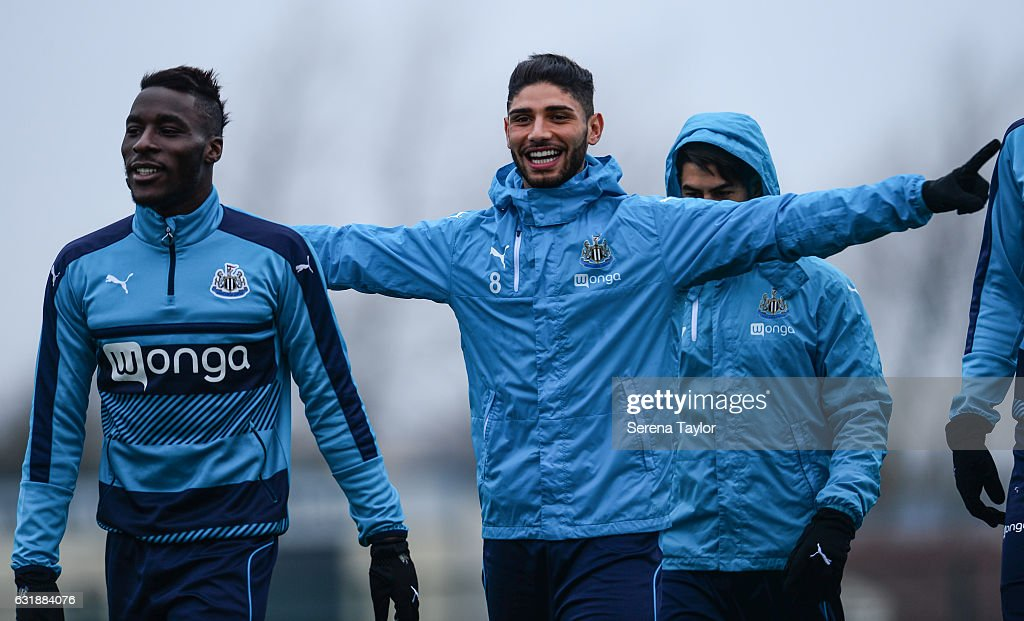 Achraf Lazaar (C) holds his arms out during the Newcastle United Training Session at The Newcastle United Training Centre on January 17, 2017 in Newcastle upon Tyne, England.