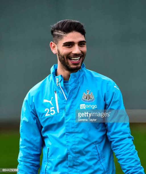 Achraf Lazaar laughs during the Newcastle United Training Session at The Newcastle United Training Centre on March 17 2017 in Newcastle upon Tyne...