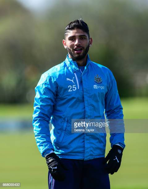 Achraf Lazaar looks on during the Newcastle United Training Session at The Newcastle United Training Centre on April 13 2017 in Newcastle upon Tyne...