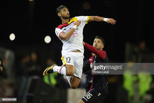 Achraf Lazaar of Benevento in action during the Serie A match between Cagliari Calcio and Benevento Calcio at Stadio Sant'Elia on October 25 2017 in...