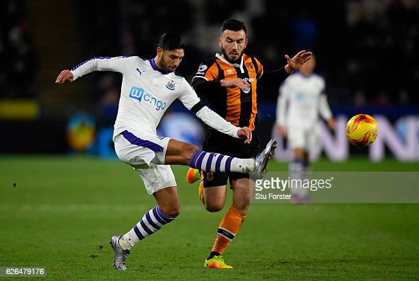Achraf Lazaar of Newcastle United clears the ball from Robert Snodgrass of Hull City during the EFL Cup QuarterFinal match between Hull City and...