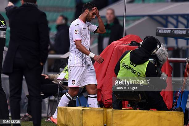 Achraf Lazaar of Palermo leaves the pitch after the referee showed him a red card during the Serie A match between US Sassuolo Calcio and US Citta di...