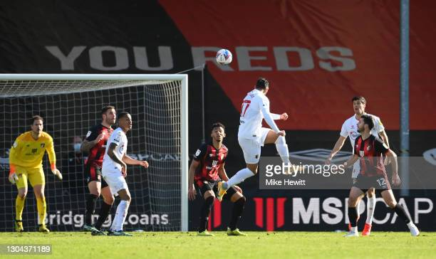 Achraf Lazaar of Watford shoots wide during the Sky Bet Championship match between AFC Bournemouth and Watford at Vitality Stadium on February 27,...