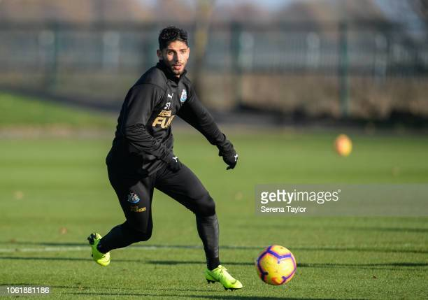 Achraf Lazaar passes the ball during the Newcastle United Training Session at The Newcastle United Training Centre on November 15 in Newcastle upon...