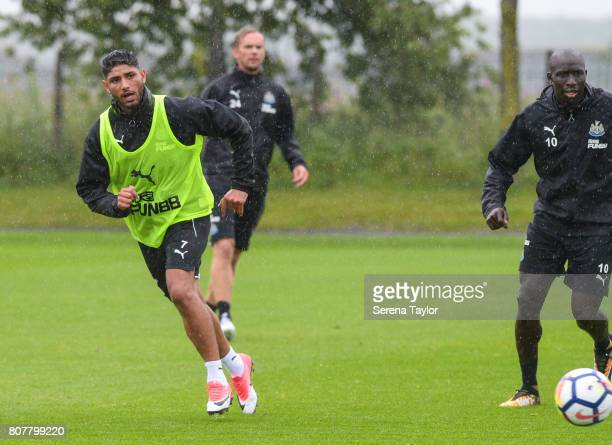 Achraf Lazaar passes the ball during the Newcastle United Training Session at the Newcastle United Training Centre on July 4 2017 in Newcastle upon...