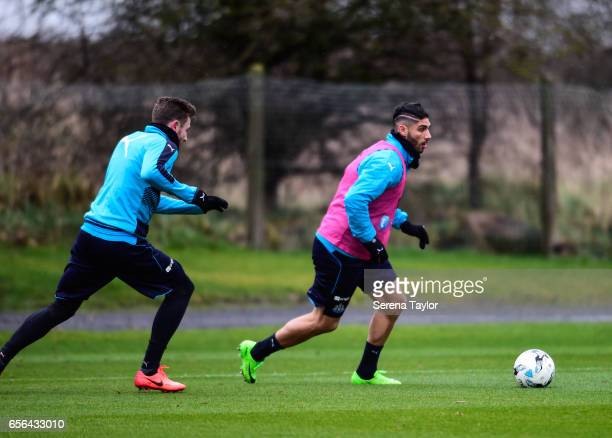 Achraf Lazaar runs with the ball during the Newcastle United Training Session at The Newcastle United Training Centre on March 22 2017 in Newcastle...