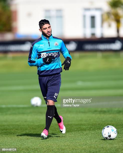 Achraf Lazaar runs with the ball during the Newcastle United Training Session at The Newcastle United Training Centre on April 4 2017 in Newcastle...