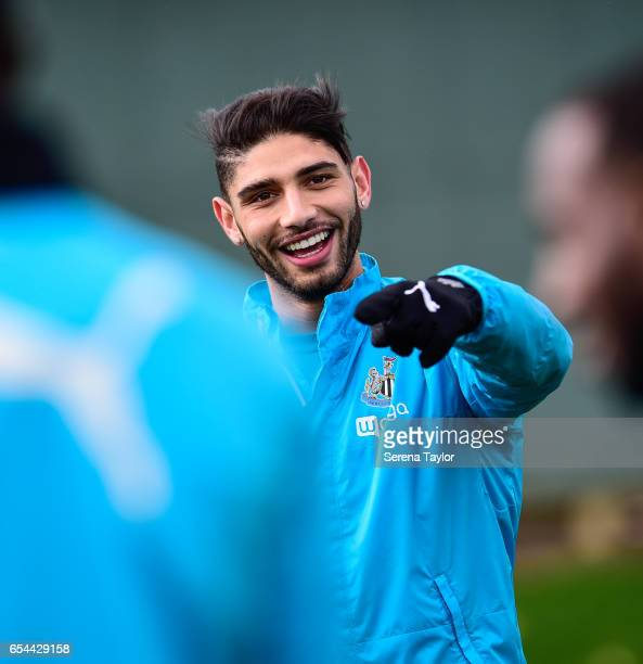Achraf Lazaar smiles during the Newcastle United Training Session at The Newcastle United Training Centre on March 17 2017 in Newcastle upon Tyne...