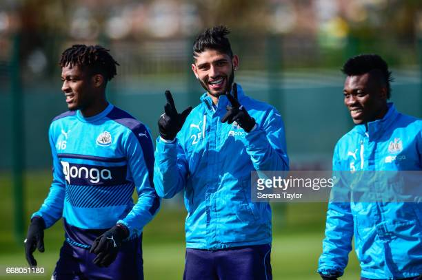 Achraf Lazaar smiles during the Newcastle United Training Session at The Newcastle United Training Centre on April 13 2017 in Newcastle upon Tyne...