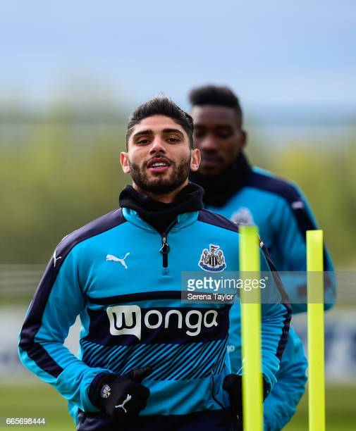 Achraf Lazaar warms up during the Newcastle United Training Session at The Newcastle United Training Centre on April 7 2017 in Newcastle upon Tyne...