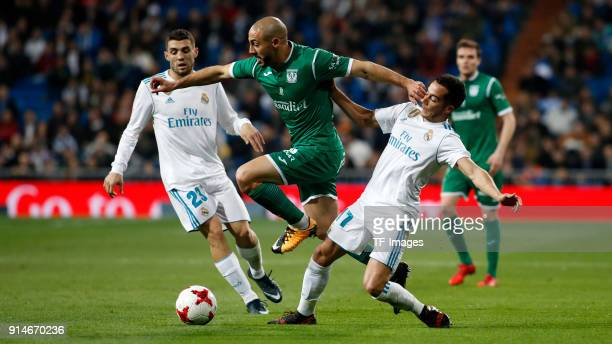 Achraf of Real Madrid Lucas Vazquez of Real Madrid and Amrabat of Leganes battle for the ball during the Copa del Rey quarter final match between...