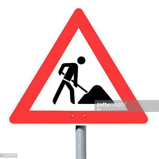 achtung baustelle, obras de rua local, alemão sinal de tráfego - placa de estrada - fotografias e filmes do acervo