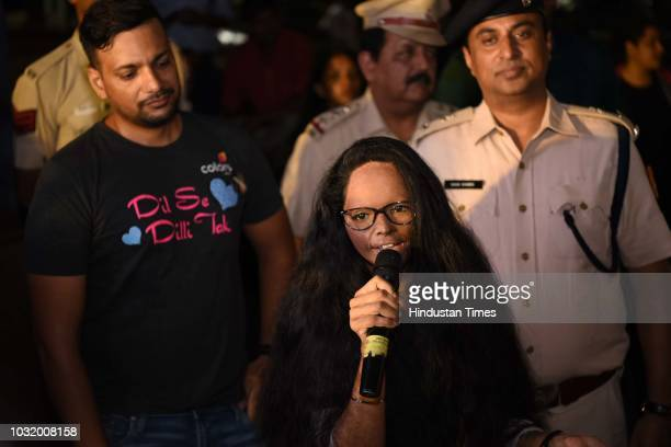 Acid attack survivor Laxmi Agarwal participates in the The Fearless Run a midnight run of 5 kilometers which was organised by the Delhi Police in...