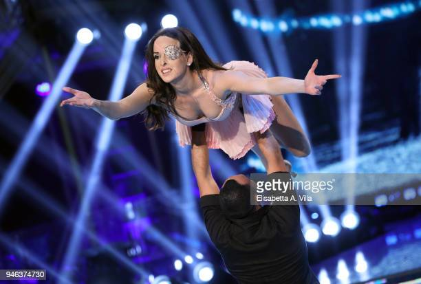 Acid attack victim Gessica Notaro and her dance partner Stefano Oradei perform on the Italian TV show 'Ballando Con Le Stelle' at RAI Auditorium on...