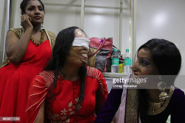 Acid attack victims backstage during Walk for Cause a fashion show with Acid Attack Victims held at Lokhandwala gardens on April 2 2017 in Mumbai...