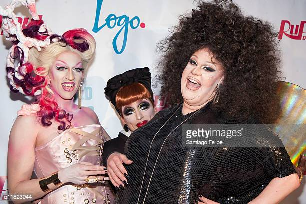 Acid Betty Bianca Del Rio and Thorgy Thor attend Logo's RuPaul's Drag Race Season 8 Premiere at Stage 48 on February 22 2016 in New York City