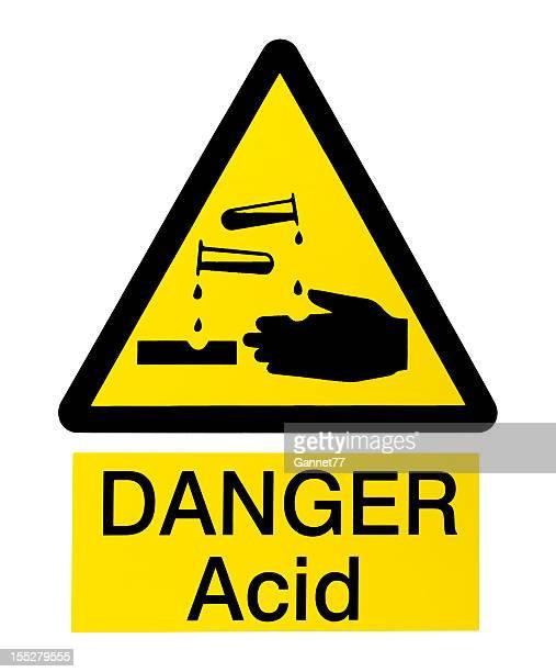 Acid Danger Sign on White