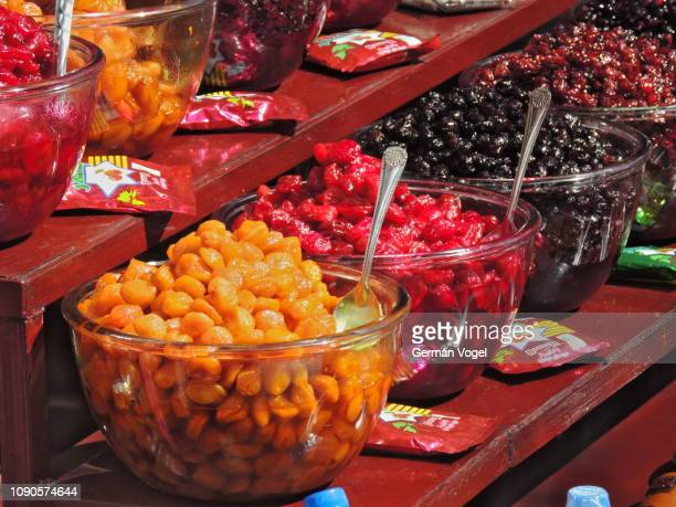 Acid fruits healthy street snack in Tehran, Iran