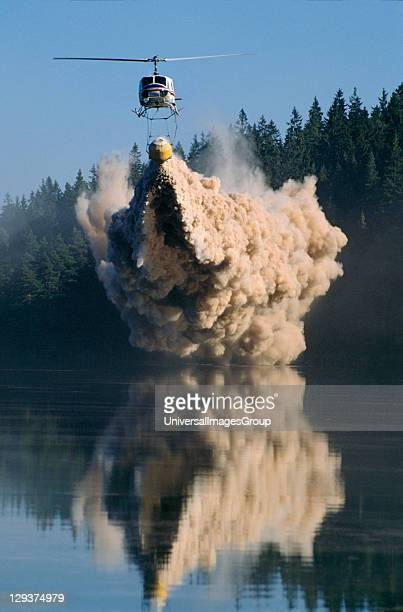 Acid Rain Sweden Vicinity Goteborg Lake Ovre Bergsjon A Helicopter Dumps Lime Into A Dying Lake To Neutralize The Acid Which Is Killing It Sweden...