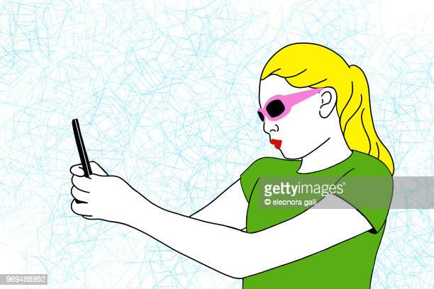 acid selfie - illustration stock pictures, royalty-free photos & images