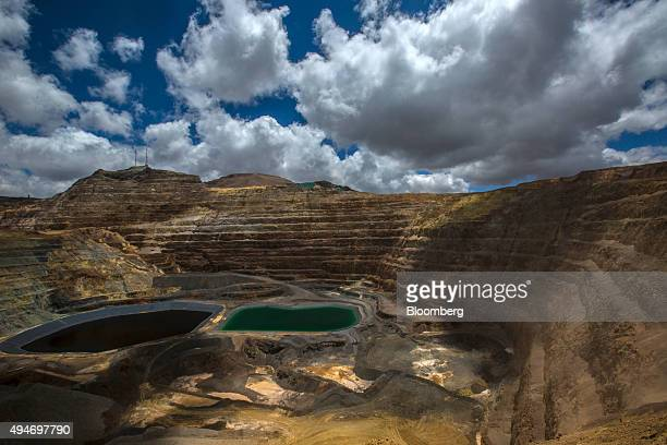 Acid water lagoons resulting from the mining process sit at the Yanacocha gold mine in Cajamarca Peru on Wednesday Oct 21 2015 Operations at...