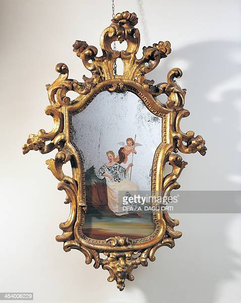 Acidetched Venetian mirror Lombard frame Italy 18th century